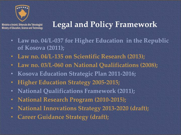 Legal and policy framework