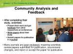 community analysis and feedback