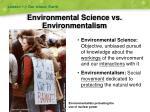 environmental science vs environmentalism