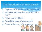 the introduction of your speech