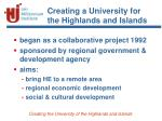 creating a university for the highlands and islands