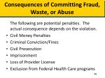 consequences of committing fraud waste or abuse