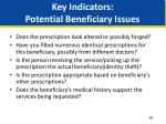 key indicators potential beneficiary issues