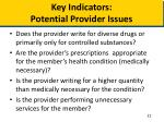 key indicators potential provider issues