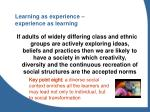 learning as experience experience as learning
