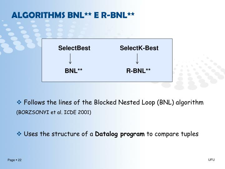 ALGORITHMS BNL** E R-BNL**