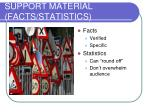 support material facts statistics