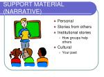 support material narrative