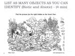 list as many objects as you can identify biotic and abiotic 4 min