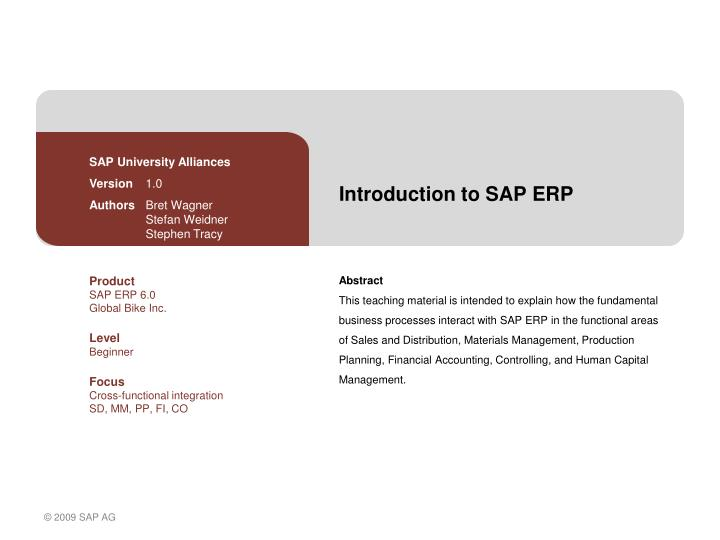 introduction to sap erp n.