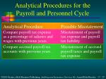 analytical procedures for the payroll and personnel cycle1