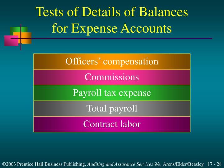 Tests of Details of Balances