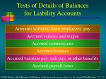 tests of details of balances for liability accounts