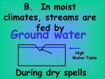 b in moist climates streams are fed by