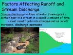 factors affecting runoff and stream discharge