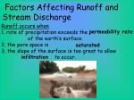 factors affecting runoff and stream discharge1