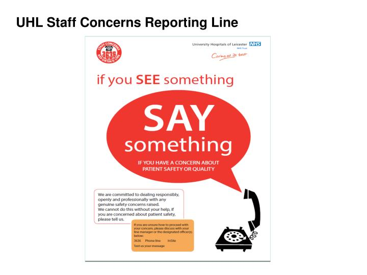 uhl staff concerns reporting line n.
