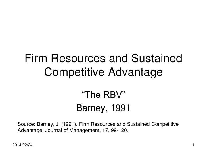 firm resources and sustained competitive advantage n.