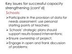 key issues for successful capacity strengthening cont d3