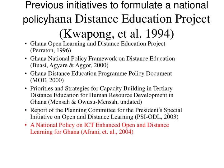 Previous initiatives to formulate a national policy