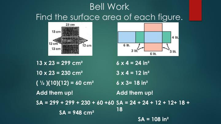 bell work find the surface area of each figure n.