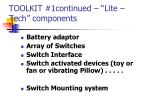 toolkit 1continued lite tech components