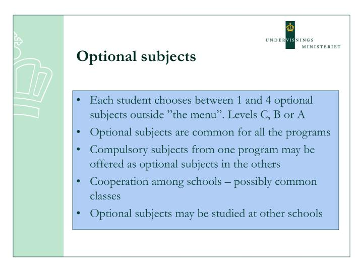 Optional subjects