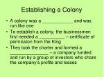 establishing a colony