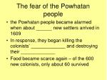 the fear of the powhatan people