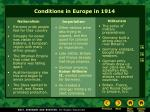 conditions in europe in 1914
