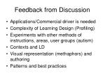 feedback from discussion