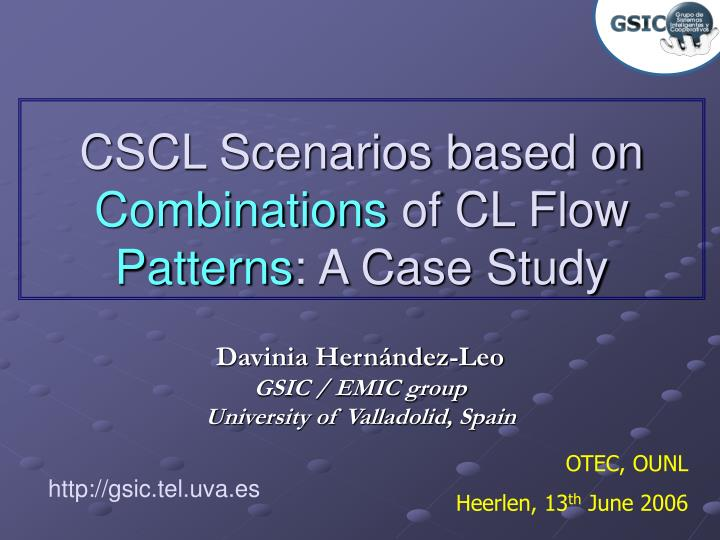 cscl scenarios based on combinations of cl flow patterns a case study n.