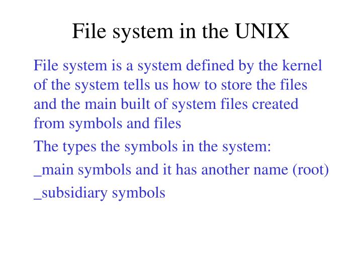 File system in the UNIX