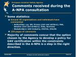 comments received during the a npa consultation