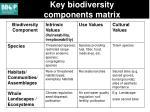 key biodiversity components matrix