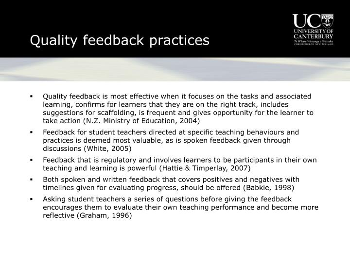 Quality feedback practices