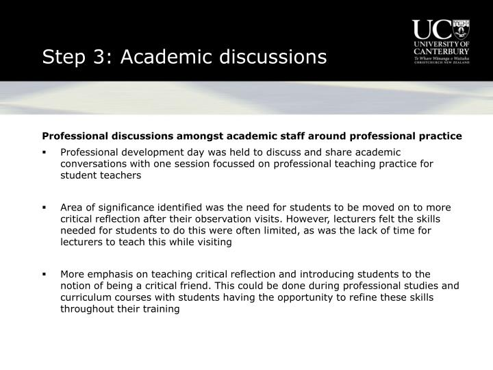 Step 3: Academic discussions
