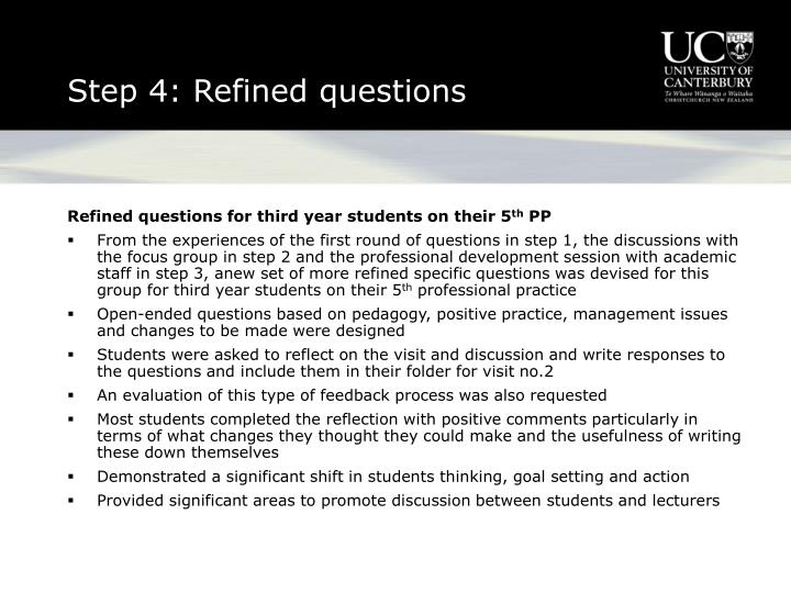 Step 4: Refined questions