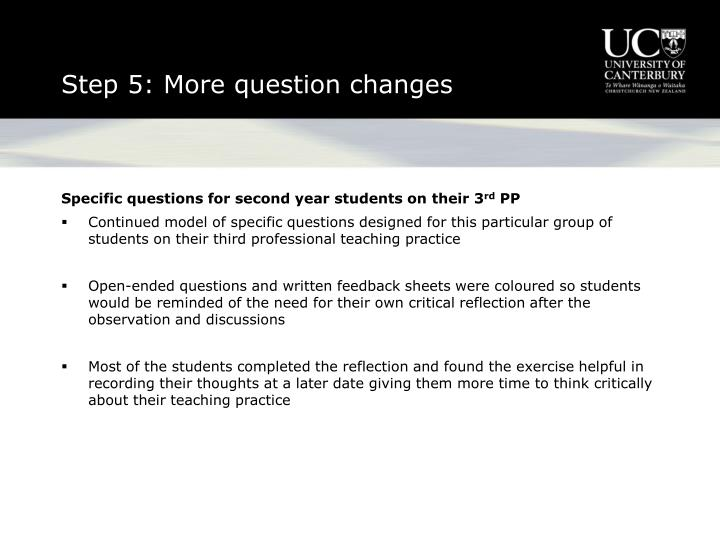 Step 5: More question changes