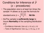 conditions for inference of z procedures