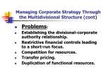 managing corporate strategy through the multidivisional structure cont