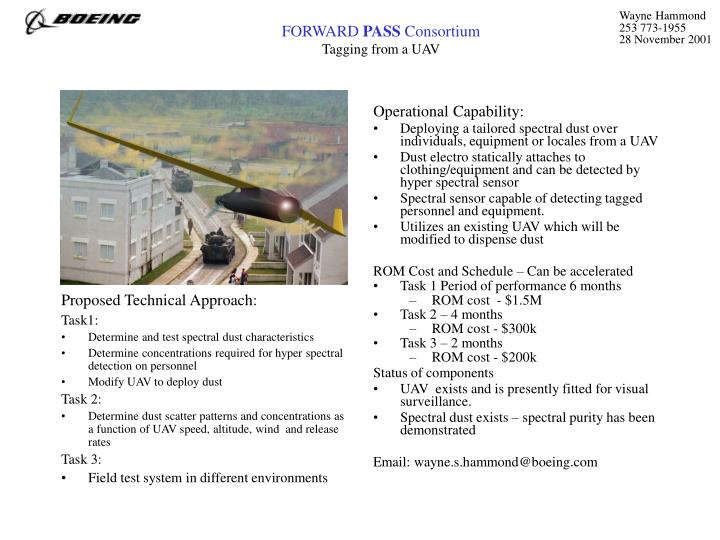 forward pass consortium tagging from a uav n.
