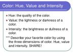 color hue value and intensity