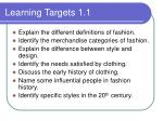 learning targets 1 1