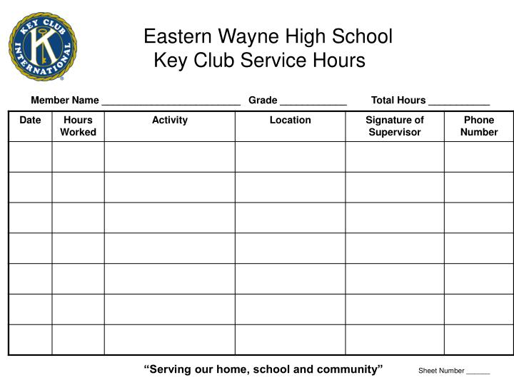 eastern wayne high school key club service hours n.