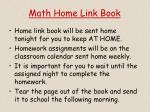 math home link book