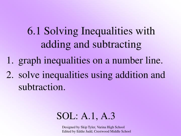 6 1 solving inequalities with adding and subtracting n.