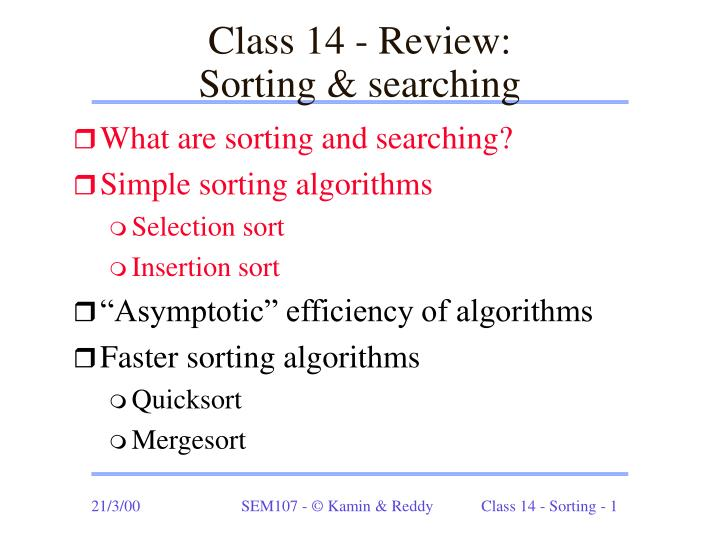 class 14 review sorting searching n.