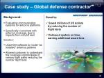 case study global defense contractor
