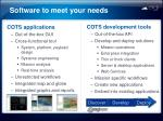 software to meet your needs